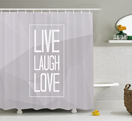 Live Laugh Love Shower Curtain By Ambesonne Greyscale Polygonal Pattern Background With Rectangular Frame Quote