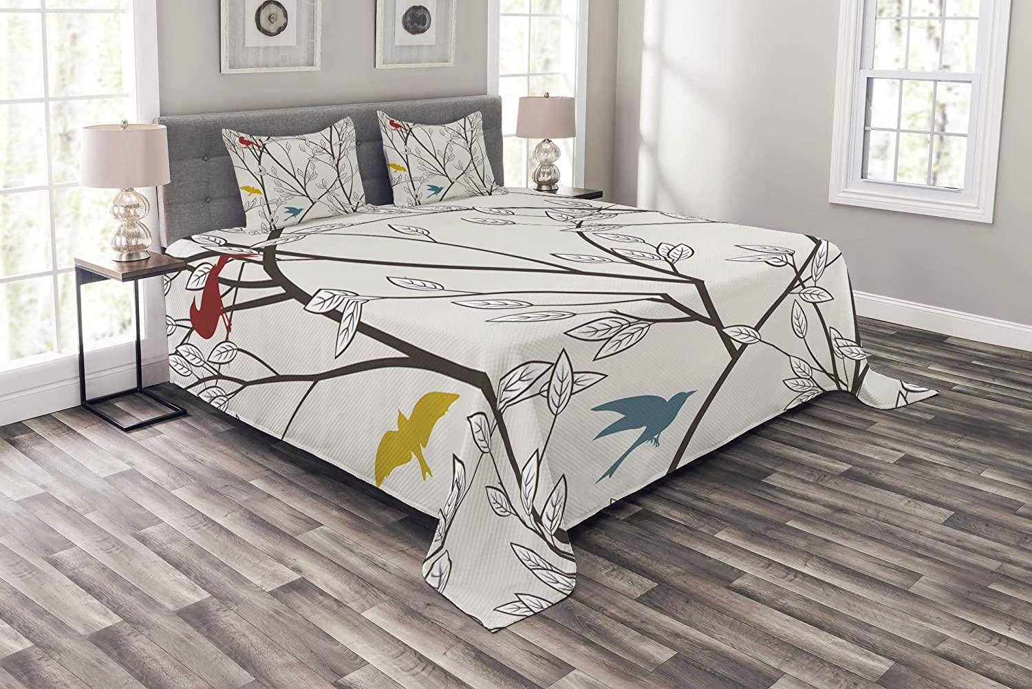 Ambesonne Nature Bedspread, Birds Wildlife Cartoon Like Image with Tree Leaf Art Print, Decorative Quilted 3 Piece Coverlet Set with 2 Pillow Shams, Queen Size, Mustard Maroon