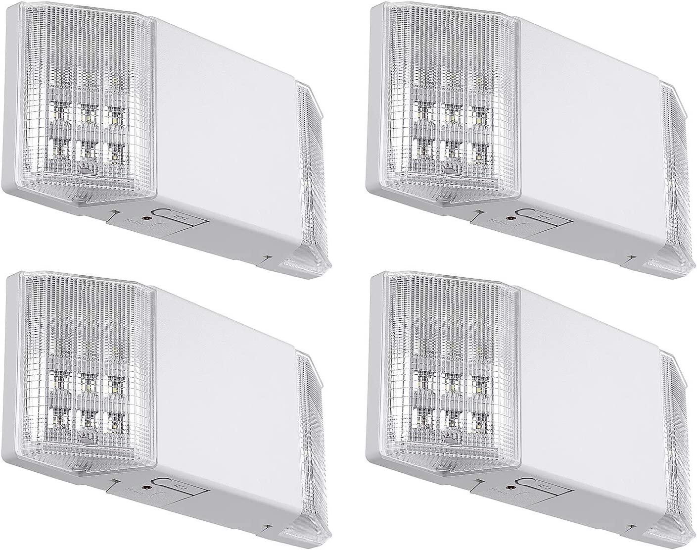TORCHSTAR LED Emergency Exit Light Fixtures, Two LED Square Heads, with Battery Backup UL-Listed, 120V/277V Input, High Light Blackout Output for Home, Hallways, Corridors, Stairways, White, Pack of 4