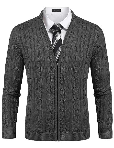 COOFANDY Herren Strickjacke Pullover Slim Fit Feinstrick Mit Stehkragen Und Reißverschluss Langarm Einfarbig