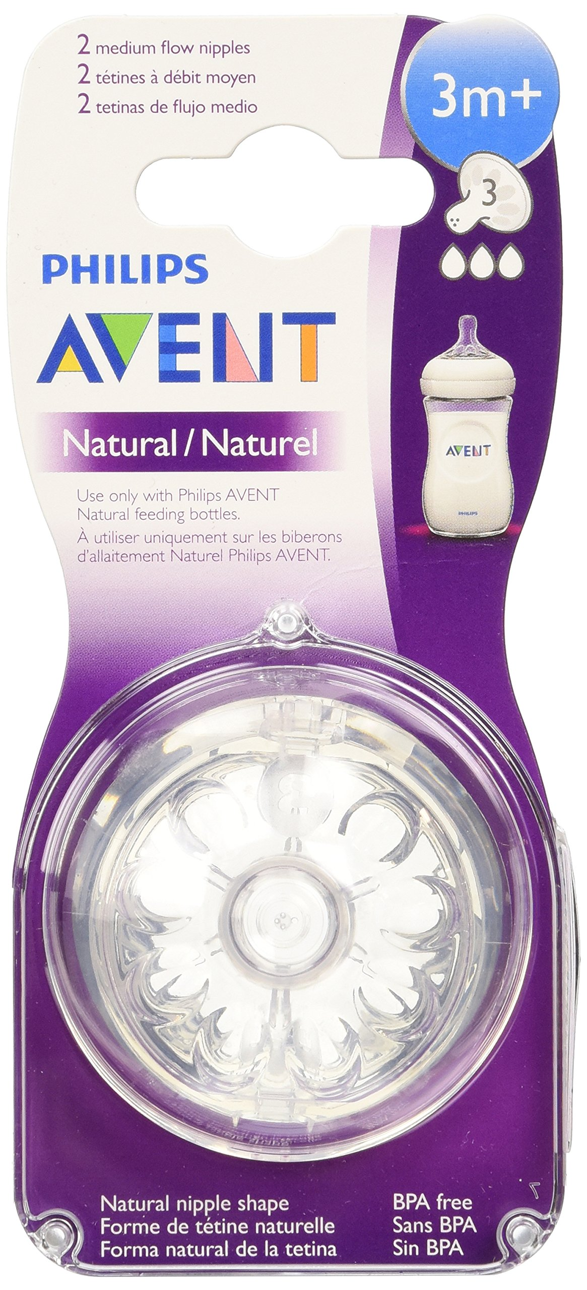 Philips Avent BPA Free Natural Medium Flow Nipples, 3 month+, 2 Count by Philips AVENT