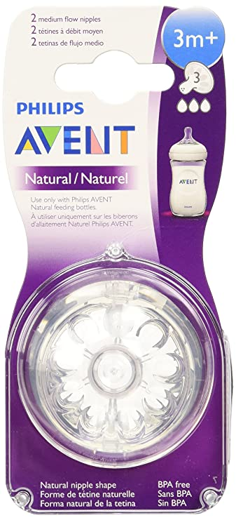 BPA Free Reduces Colic Philip Avent Natural Teat Medium Flow 2pk 3 months