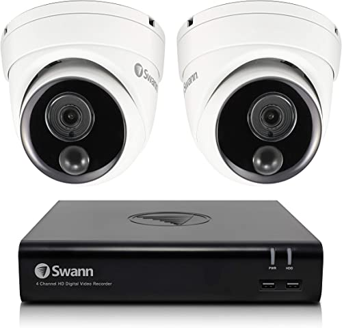 Swann Security Camera System, 2 Cameras 4 Channel 1080p Full HD DVR with 32GB SD Card SWDVK-44480V2D-US
