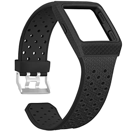SKYLET for Fitbit Ionic Bands with Case, Soft Breathable Replacement Wristband for Fitbit Ionic Smart Watch with Metal Clasp Men Women Black (No ...