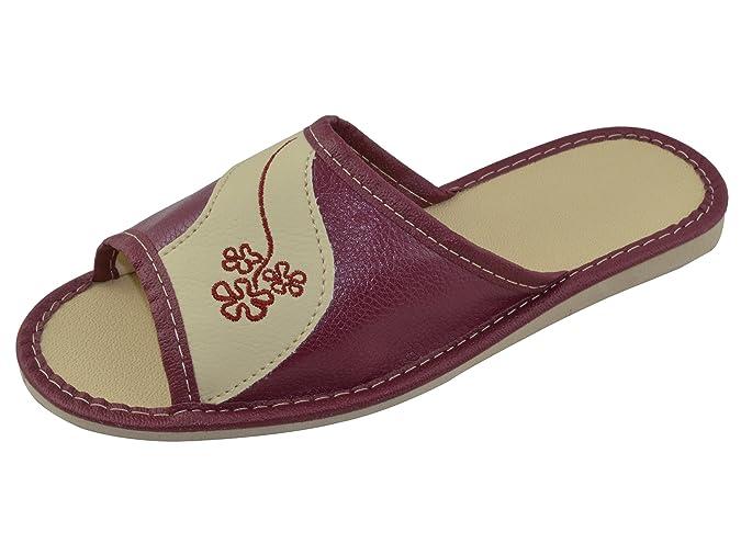 Natural Line Vera pelle elegante da donna infradito pantofole, donna,  Multicolore (TP-W-9), 40: Amazon.it: Scarpe e borse