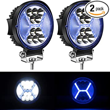 2PCS Round LED Pods Driving Lights Bar with Amber DRL Light 117W 12000LM Flood Spot Combo Beam Working Light Pod Off Road for Trucks,SUV,Hunters,Jeep,Boat etc.