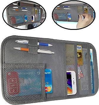 Personal Belonging Storage Pouch for Trucks and Cars lebogner Car Sun Visor Pocket Organizer Interior Accessories Pocket Organizer Grey Registration and Insurance Document Holder