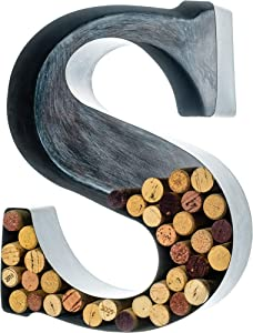 Wine Cork Holder - Metal Monogram Letter (S), Brushed Metal, Large | Wine Lover Gifts, Housewarming, Engagement & Bridal Shower Gifts | Personalized Wall Art | Home Décor
