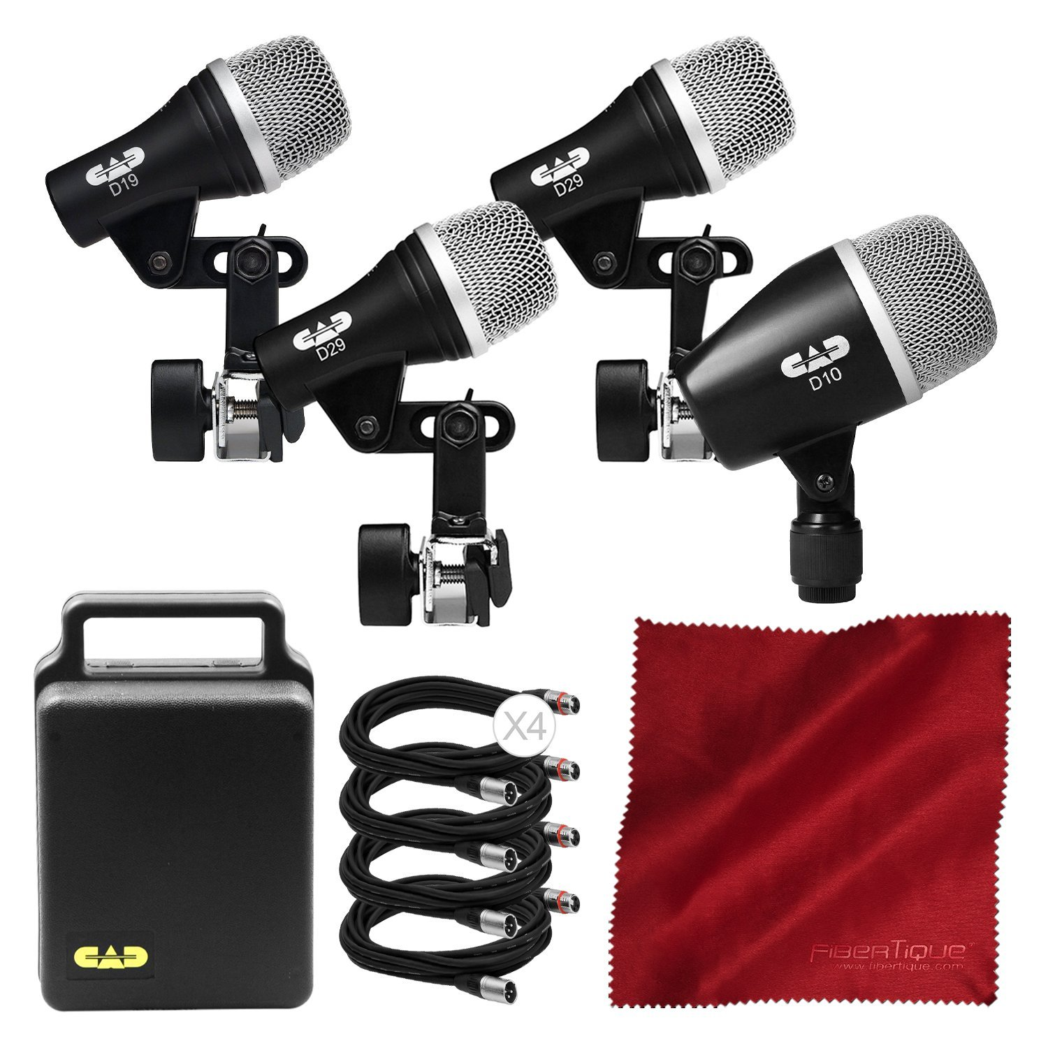 CAD Audio Stage 4 4-Piece Drum Pack Bundled with XLR Cable and Microfiber Cloth UnAssigned