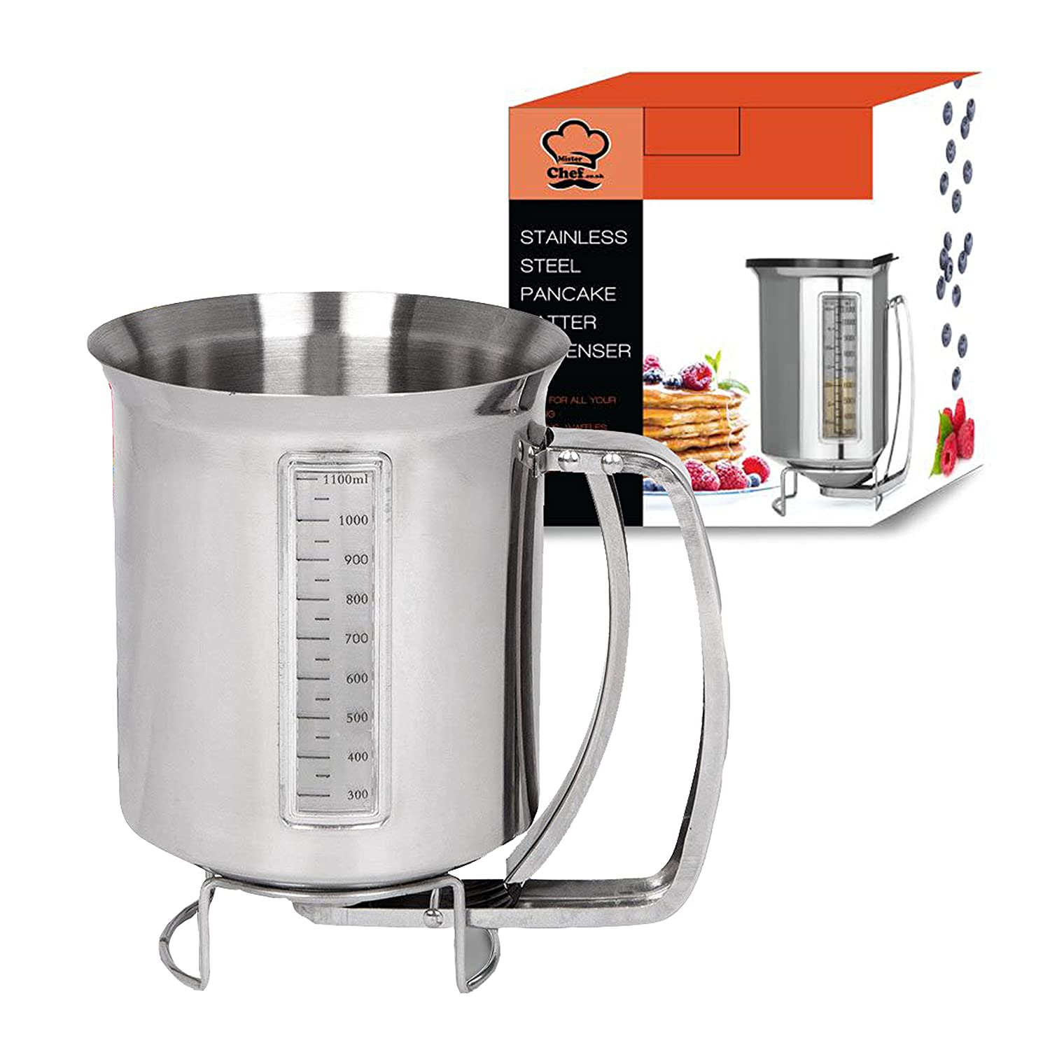 Stainless Steel Pancake Batter Dispenser with Measuring Label: Ideal for Baking Cupcakes, Waffles, Crepes, Muffins, Cake or any Battery mix + FREE PLASTIC COVER TO STORE YOUR CONTENTS – Silver Aluminium – Capacity of 1200ml (1.2L) - 2 Year Warranty - by M