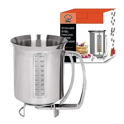 Dispensador de pancake de acero inoxidable con etiqueta de medición: ideal para hornear cupcakes,
