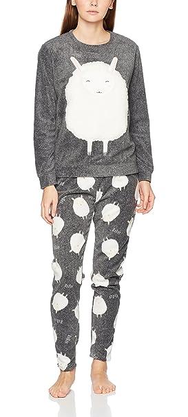Womensecret 3132544, Conjunto de Pijama para Mujer, Gris (Grey),