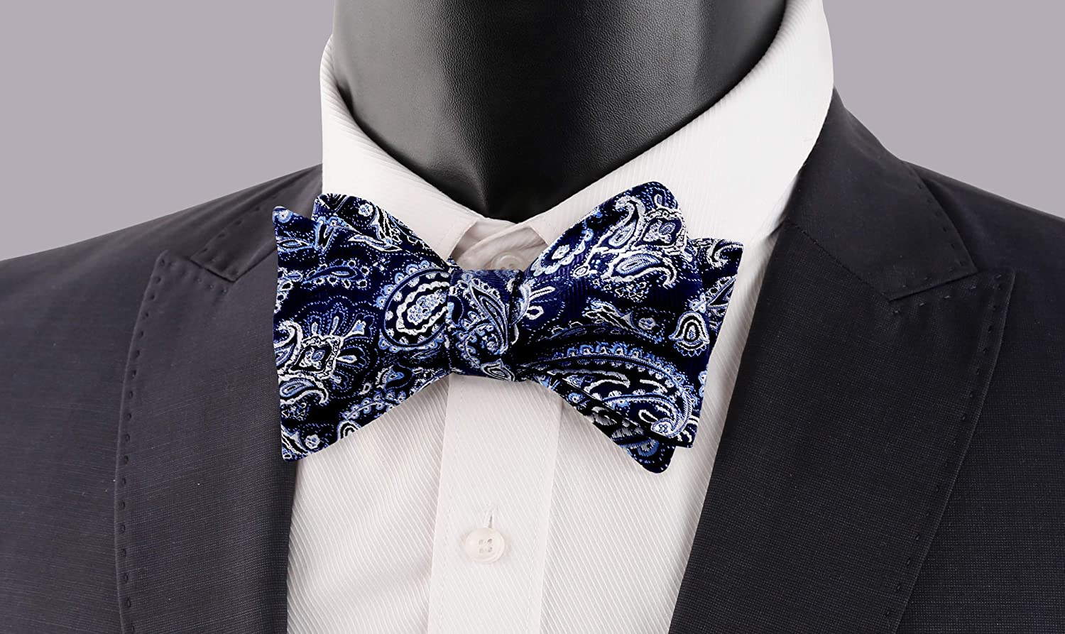 Alizeal Mens Fashion Adjustable Self Bowties with Pocket Square Set