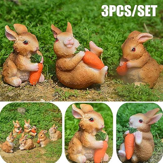 STARPIA Figurines de Conejos para Jardín, 3PCS Conejos de Resina Decorativos Adornos para Jardín, Mini Conejitos con Zanahoria Decoración Casa Pascua (Marron 1): Amazon.es: Jardín