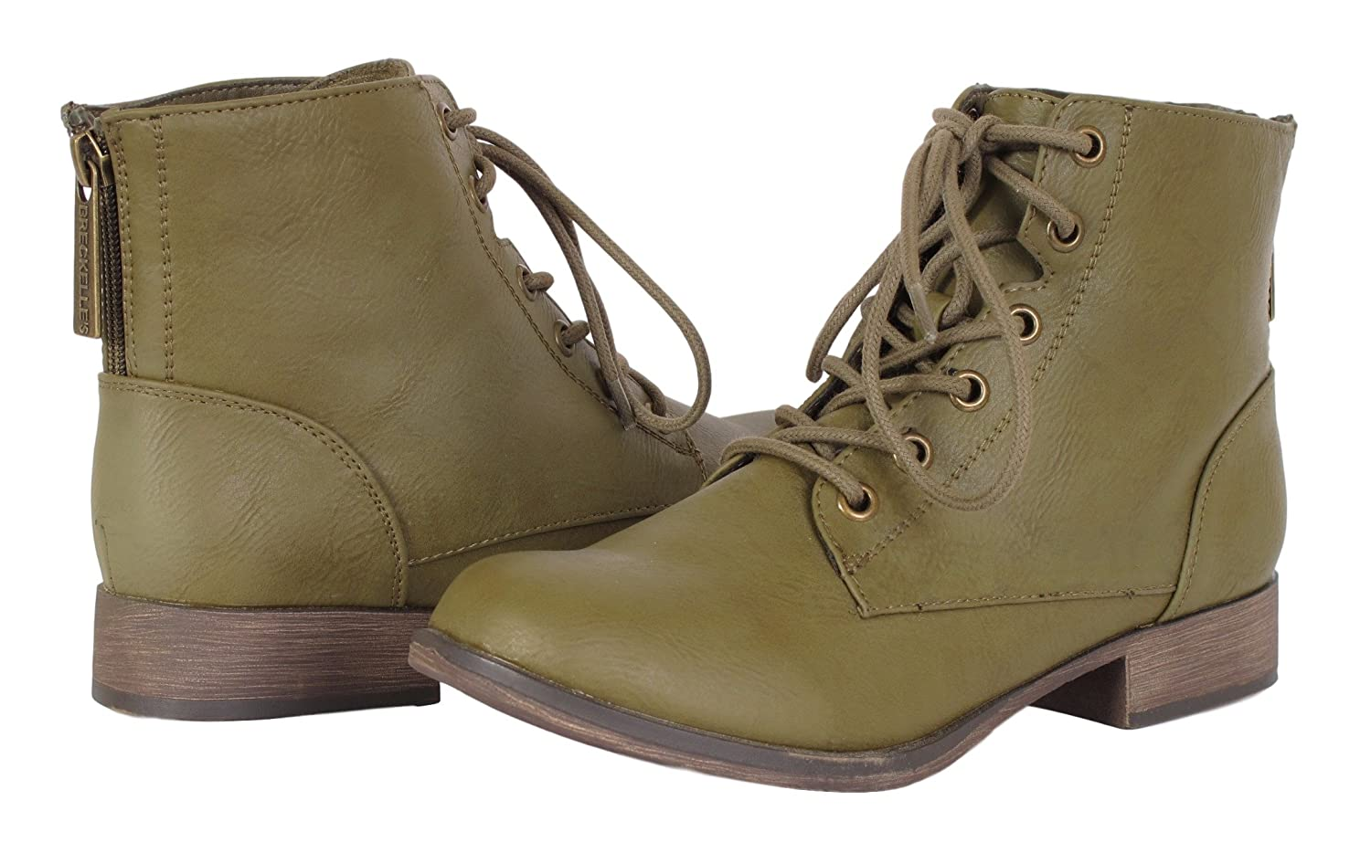 6088ee4c1d034 Amazon.com | Breckelle's Women's Georgia-43 Faux Leather Ankle High Lace Up  Combat Boots, 6 B(M) US, Olive | Ankle & Bootie