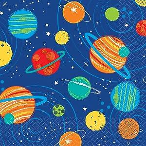 Planets And Stars Design Birthday Beverage Napkins-16pc