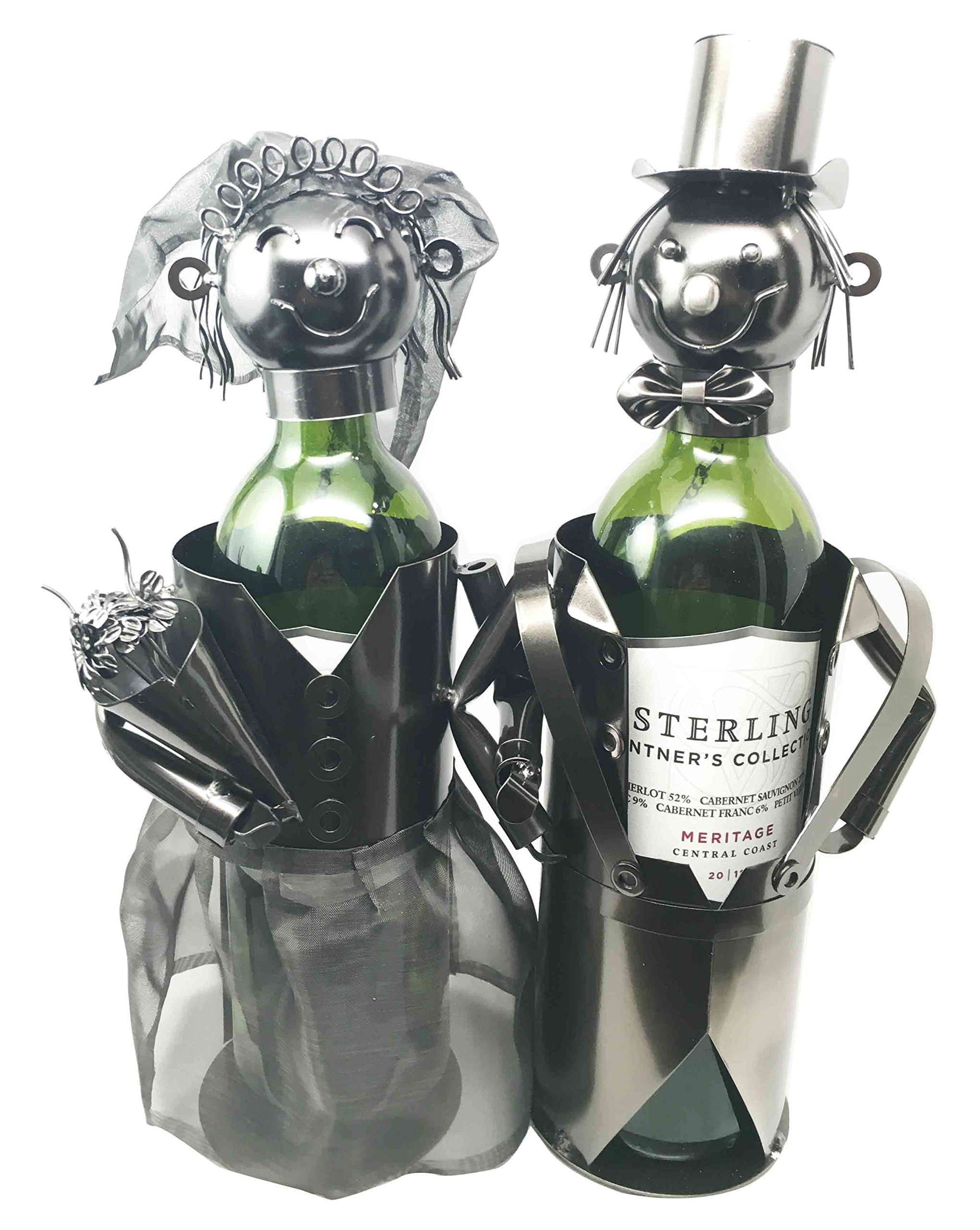 Beautiful Bridal Wedding Bride & Groom Couple Hand Made Metal Wine Bottle Holder Caddy