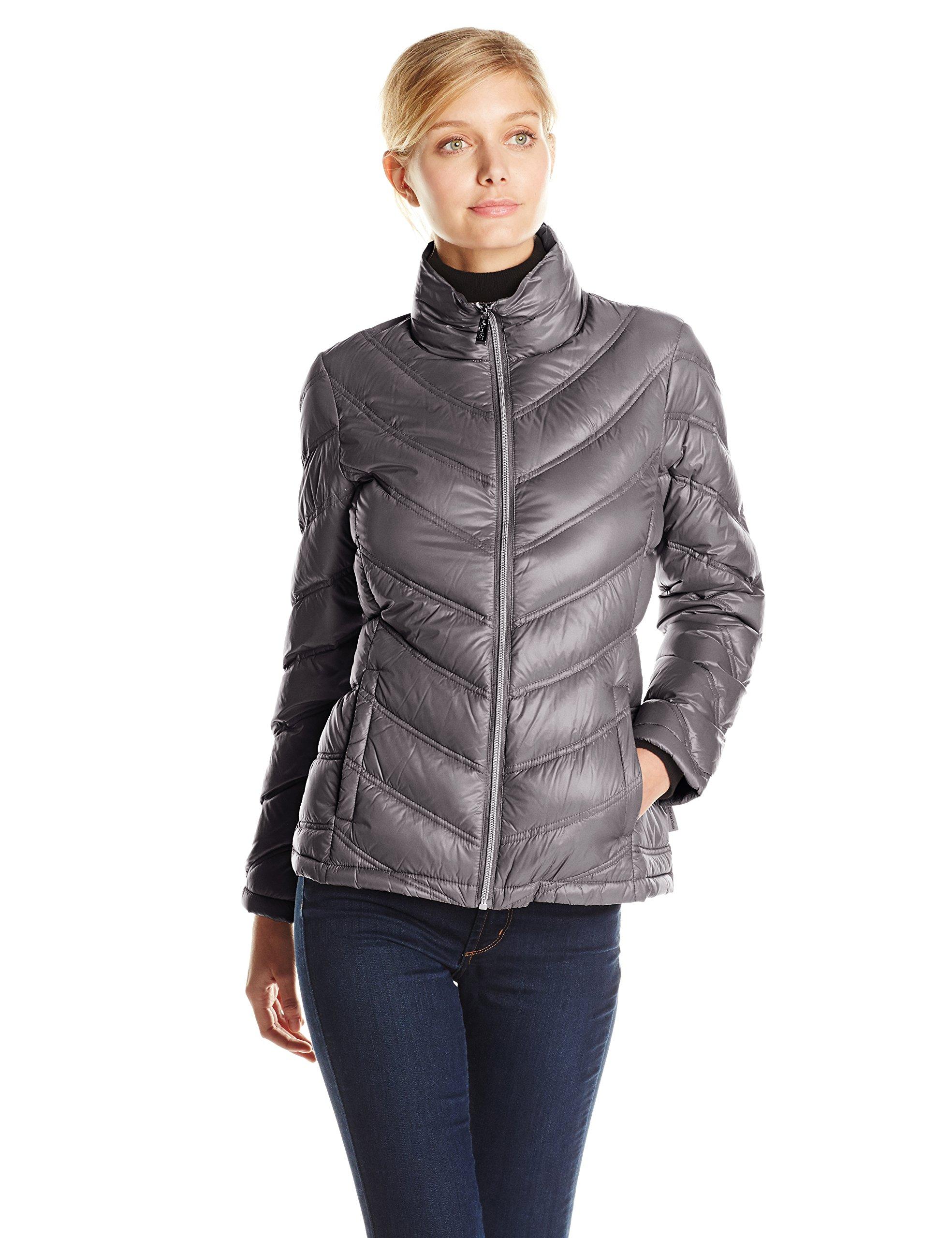 Calvin Klein Women's Lightweight Chevron Packable Jacket, Titanium, Medium