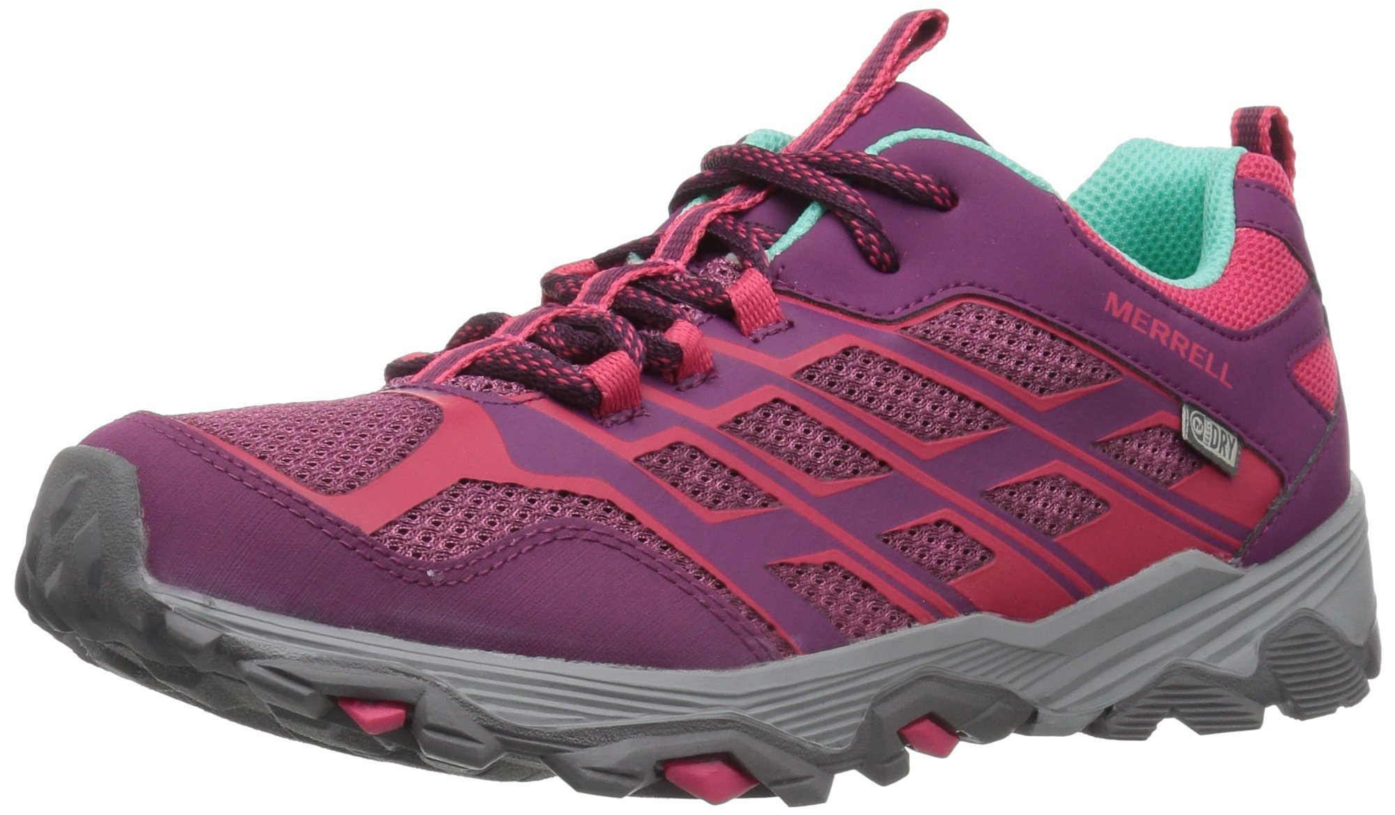 Merrell Moab Fst Low Waterproof Sneaker (Little Kid/Big Kid), Berry, 7 Medium US Big Kid