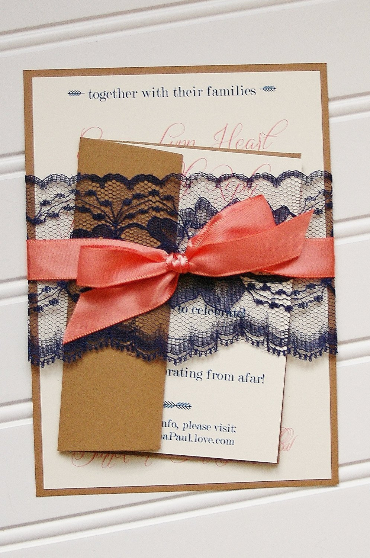 amazoncom navy and coral wedding invitations handmade cards rustic wedding shabby chic wedding vintage wedding handmade - Navy And Coral Wedding Invitations