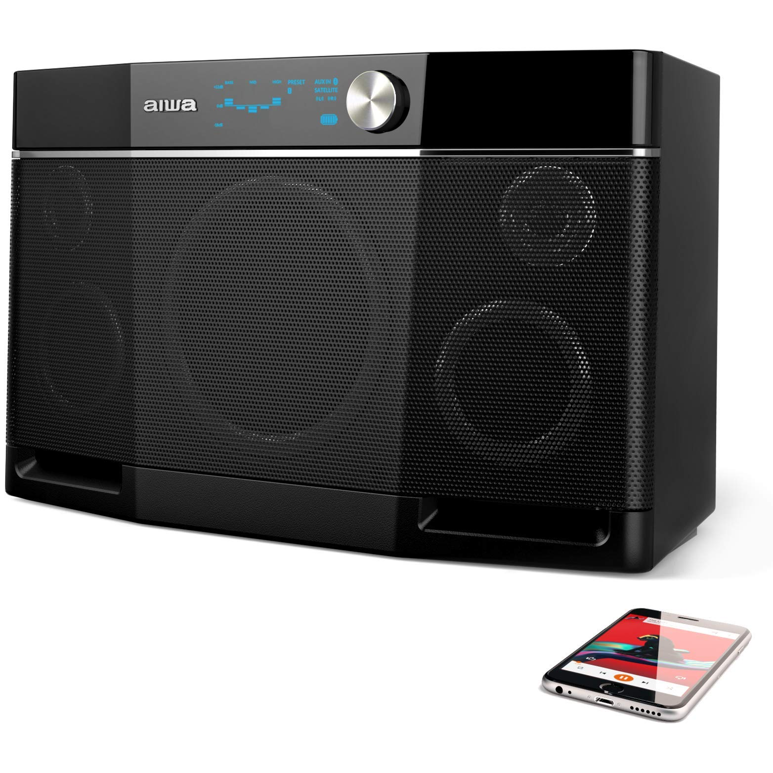 Aiwa Exos-9 Bluetooth Portable Speaker, 9H Playtime, Rechargeable Battery included wireless speaker -  Black by Aiwa