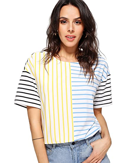 3120b3e9e9dc Romwe Women s Short Sleeve Cut and Sew Colorblock Mix Patch Striped Print  Loose Fit Tee Shirt Top at Amazon Women s Clothing store