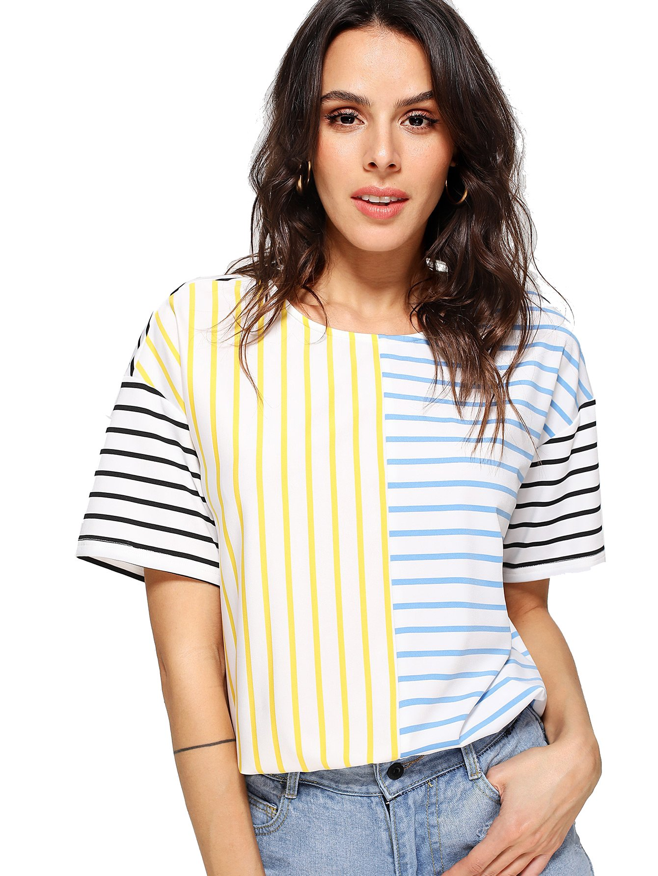 Romwe Women's Short Sleeve Cut and Sew Colorblock Mix Patch Striped Print Loose Fit Tee Shirt Top Multicolor S