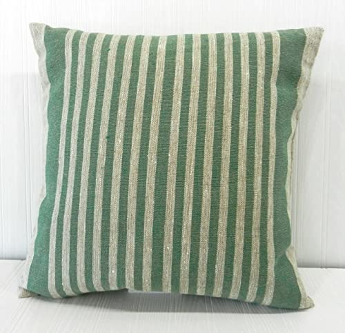 Pillow Cover Rustic Linen Green Narrow Stripe 18x18