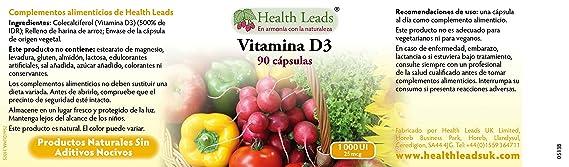 Vitamina D3 1000 UI 25 mcg x 90 cápsulas (no estearato de magnesio): Amazon.es: Salud y cuidado personal