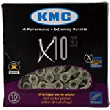 KMC X10.93 10 speed 116 links Bicycle Chain, Silver/Grey (1/2x11/128-Inch) 3-Pack