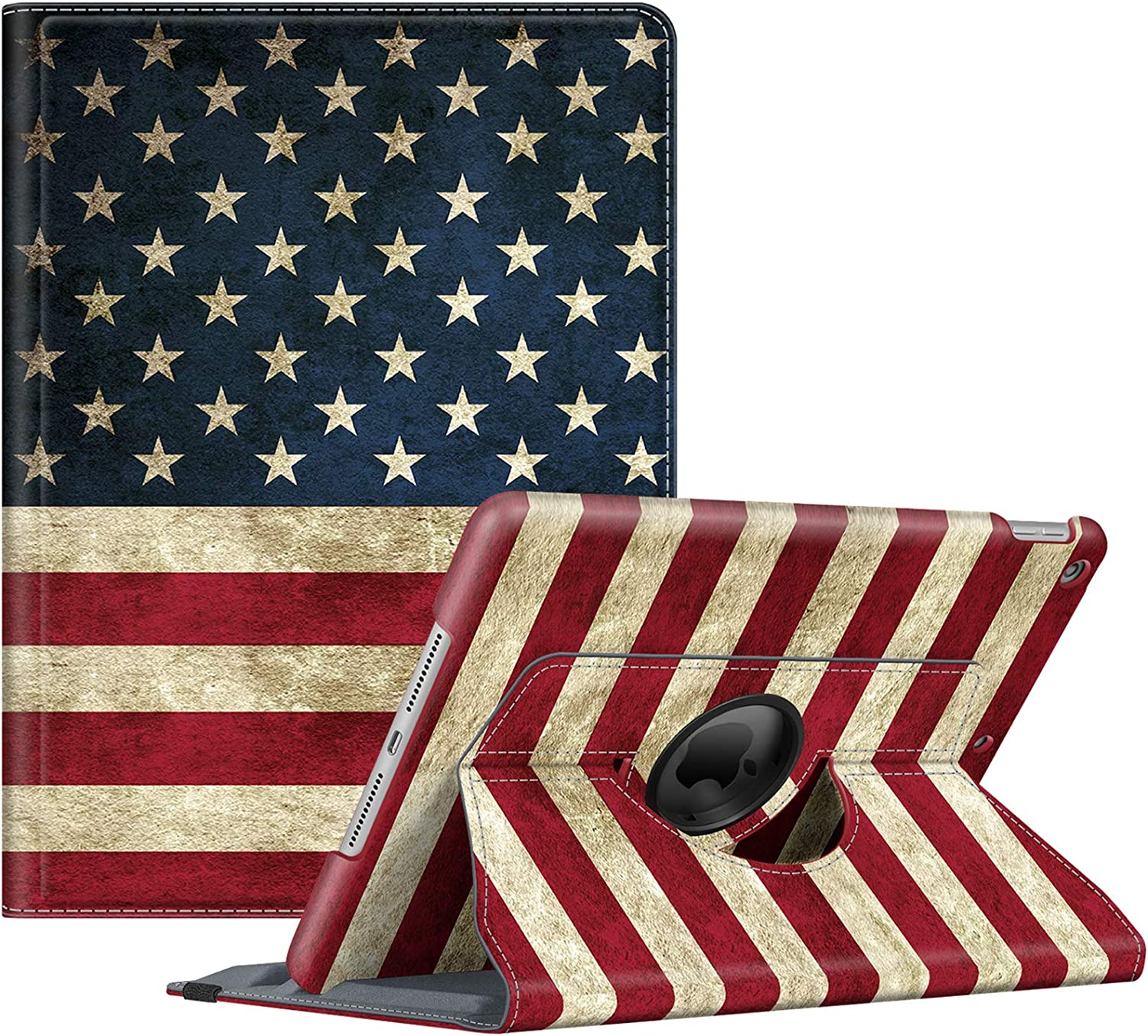 Fintie Rotating Case for New iPad 8th Gen (2020) / 7th Generation (2019) 10.2 Inch - [Built-in Pencil Holder] 360 Degree Rotating Smart Protective Stand Cover with Auto Sleep/Wake, US Flag