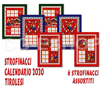 Ciclismo 2020 Calendario.Confezioni Giuliana Set 6 Asciugamani Da Cucina Natale Calendario 2020 Disegni Assortiti Strofinaccio