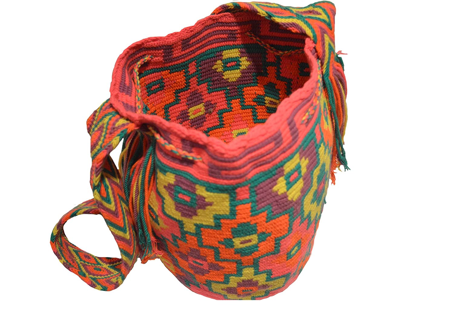 Amazon.com | Wayuu Mochila Bag Colombia Native Handmade from Wool and Cotten, Fluorescence (Pink, Orange, Green, Yellow, Purple) | Backpacks