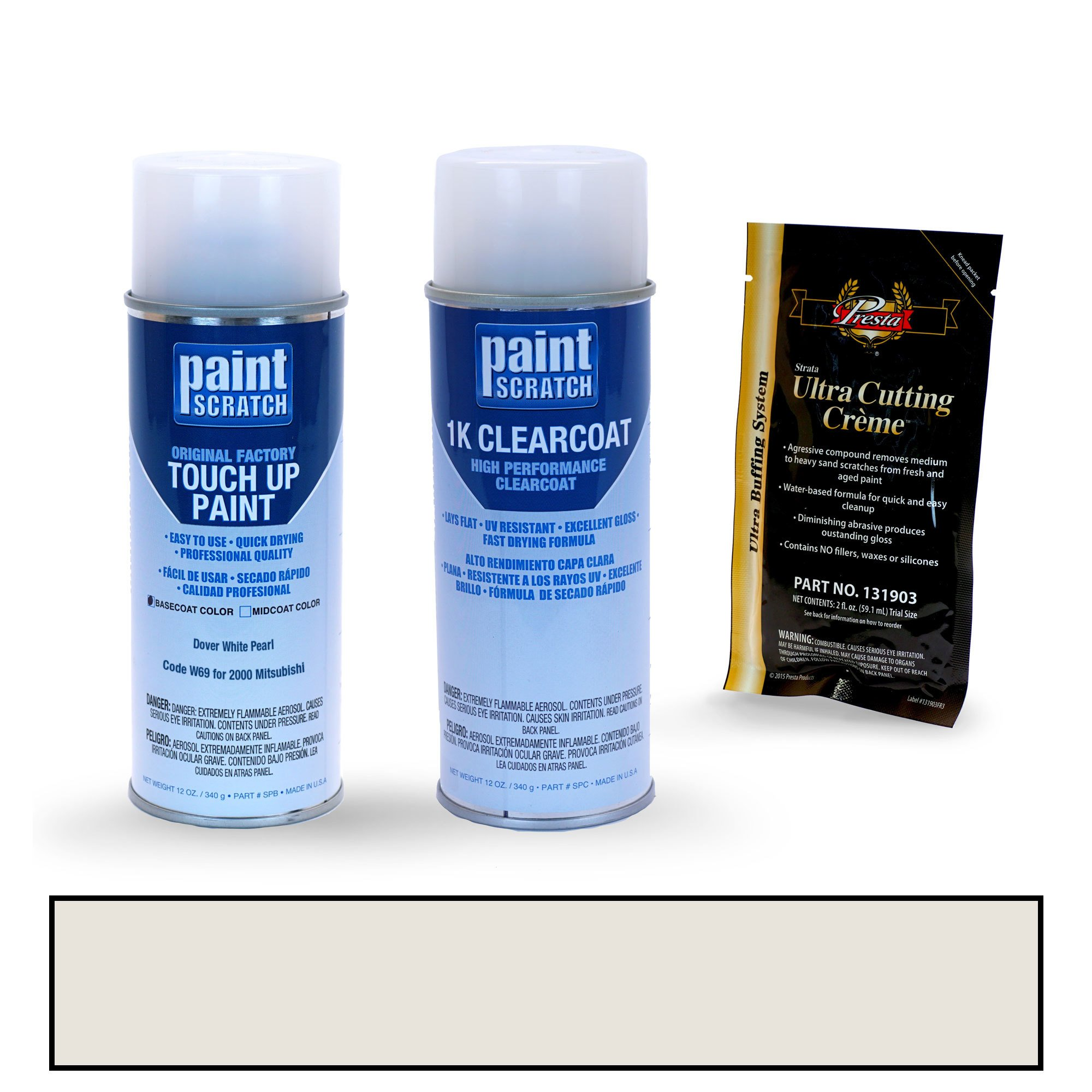 PAINTSCRATCH Dover White Pearl W69 for 2000 Mitsubishi Galant - Touch Up Paint Spray Can Kit - Original Factory OEM Automotive Paint - Color Match Guaranteed