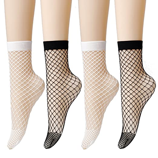 108533fc6d5 Epeius Women s Lace Fishnet Ankle Socks at Amazon Women s Clothing ...