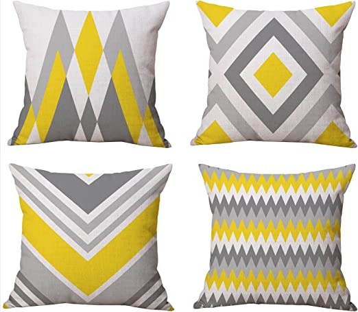 Amazon Com Bluettek Modern Simple Geometric Style Cotton Linen Burlap Square Throw Pillow Covers 18 X 18 Inches Set Of 4 Yellow Gray Home Kitchen