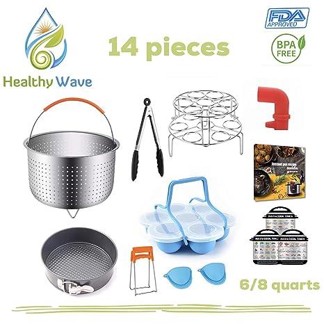 Pressure Cooker Accessories 14 pcs Set compatible with Instant Pot, Instapot 6,8 QT, Ninja Foodi 8 QT-Steam release diverter,Steamer Basket,Springform ...