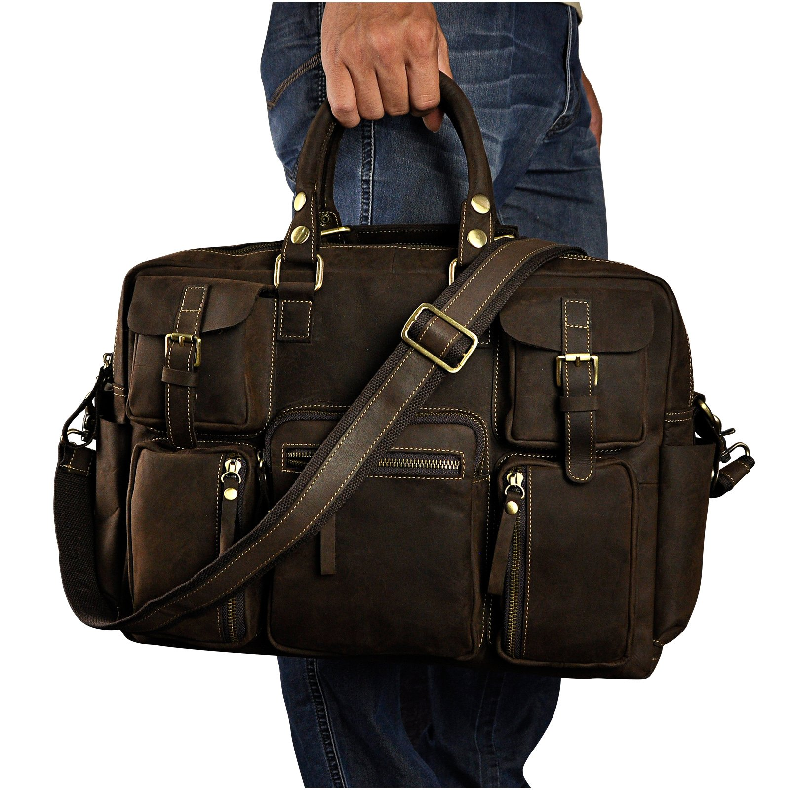 Le'aokuu Mens Genuine Leather Laptop Case Briefcase Travel Luggage Duffle Gym Tote Bags (Brown)