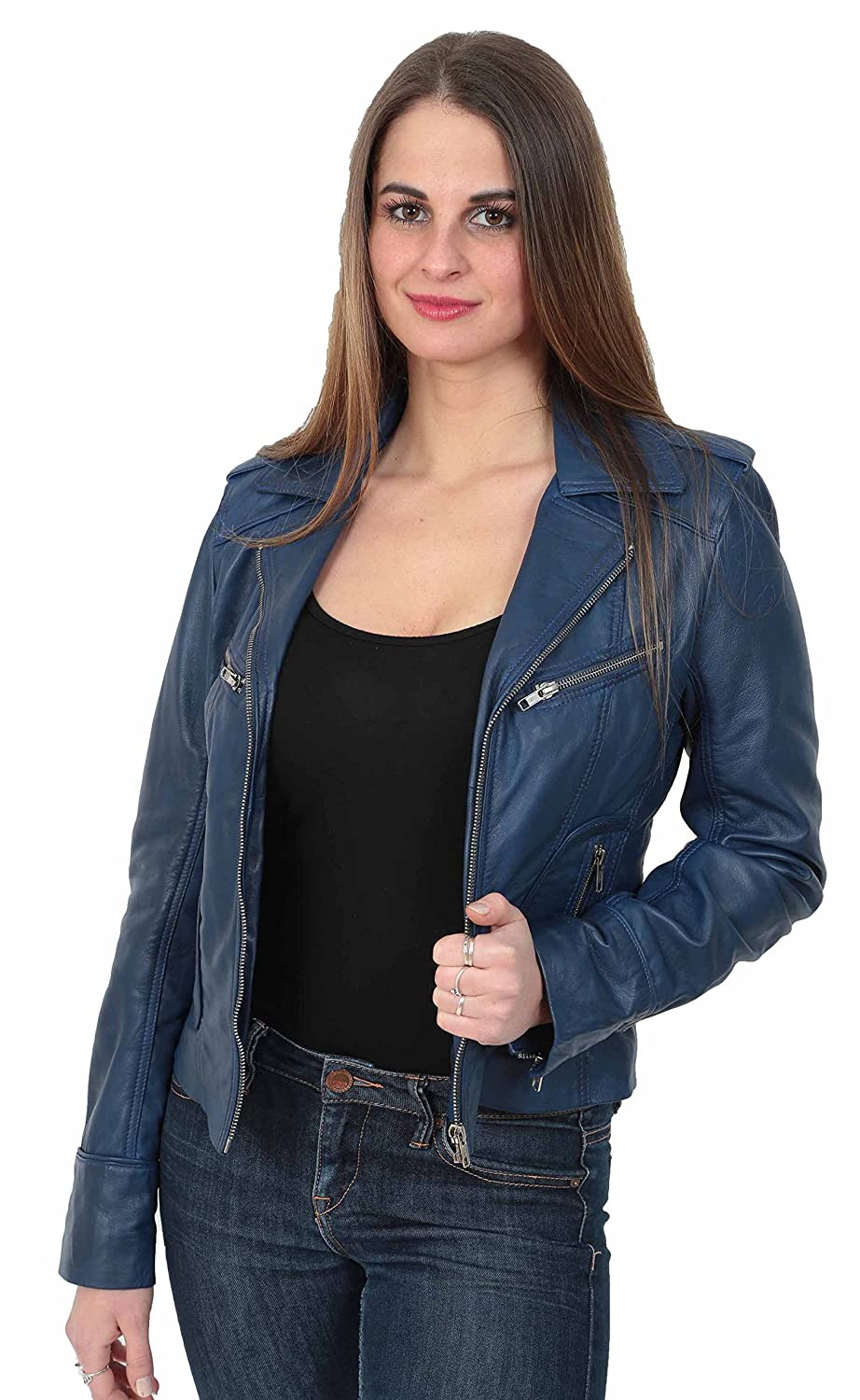 63926dd57cbfb A1 FASHION GOODS Womens Slim fit Navy Blue Real Leather Jacket Biker Style  Zip Coat Betty at Amazon Women s Coats Shop
