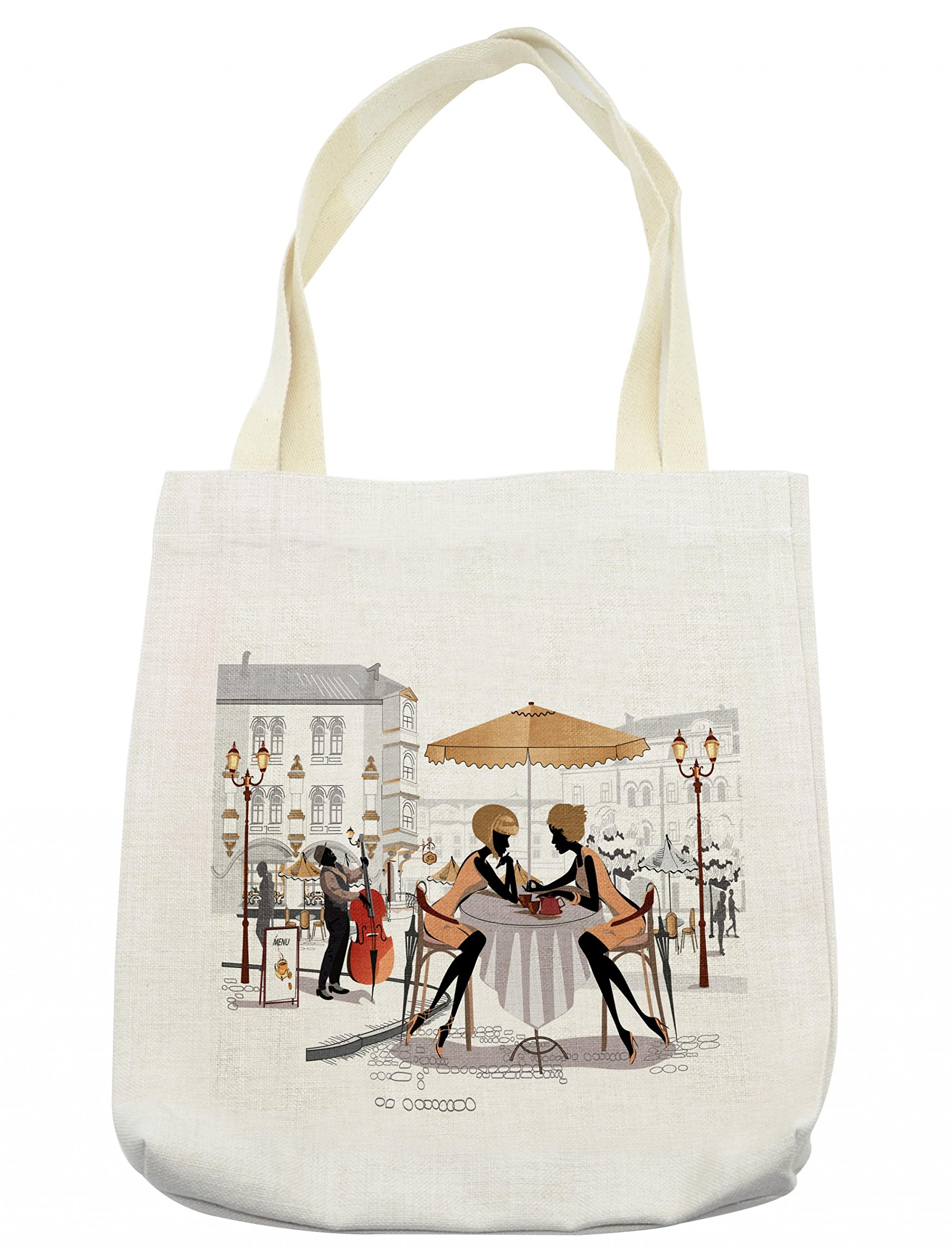 4d186e81f13a Lunarable Girls Tote Bag, Two Ladies in a Paris Cafe in Old Town with  Street Musician Urban Theme, Cloth Linen Reusable Bag for Shopping  Groceries ...