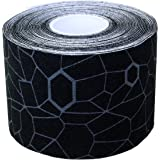 TheraBand Kinesiology Tape, Waterproof Physio Tape for Pain Relief, Muscle Support, & Injury Recovery, Standard Roll with XactStretch Application Indicators, 2 Inch x 16.4 Foot Roll, Black/Gray