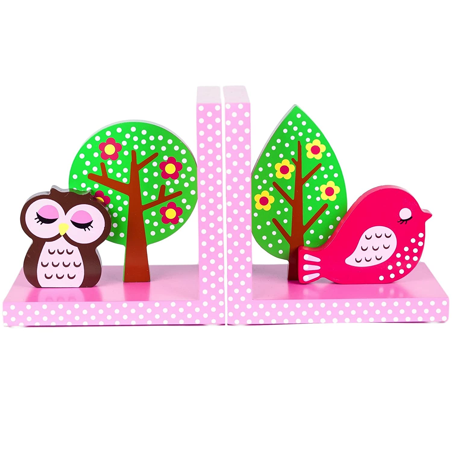Quality Wooden Pink Owl & Bird Bookends by Tinkie Toys