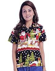 Virgin Crafts Womens Hawaiian Christmas Shirts Button Down Ladies Blouse Santa Bear
