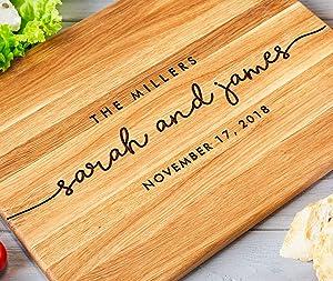 Personalized cutting board, Engraved cutting board, Custom cutting board, Wedding Gift, Bridal shower, Housewarming Anniversary Oak Walnut (Oak 8x12, Millers)