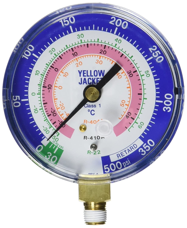 Yellow Jacket 49140 Gauge Degrees C 0-350 psi 3-1//8 Blue Compound R-22//404A//410A 30