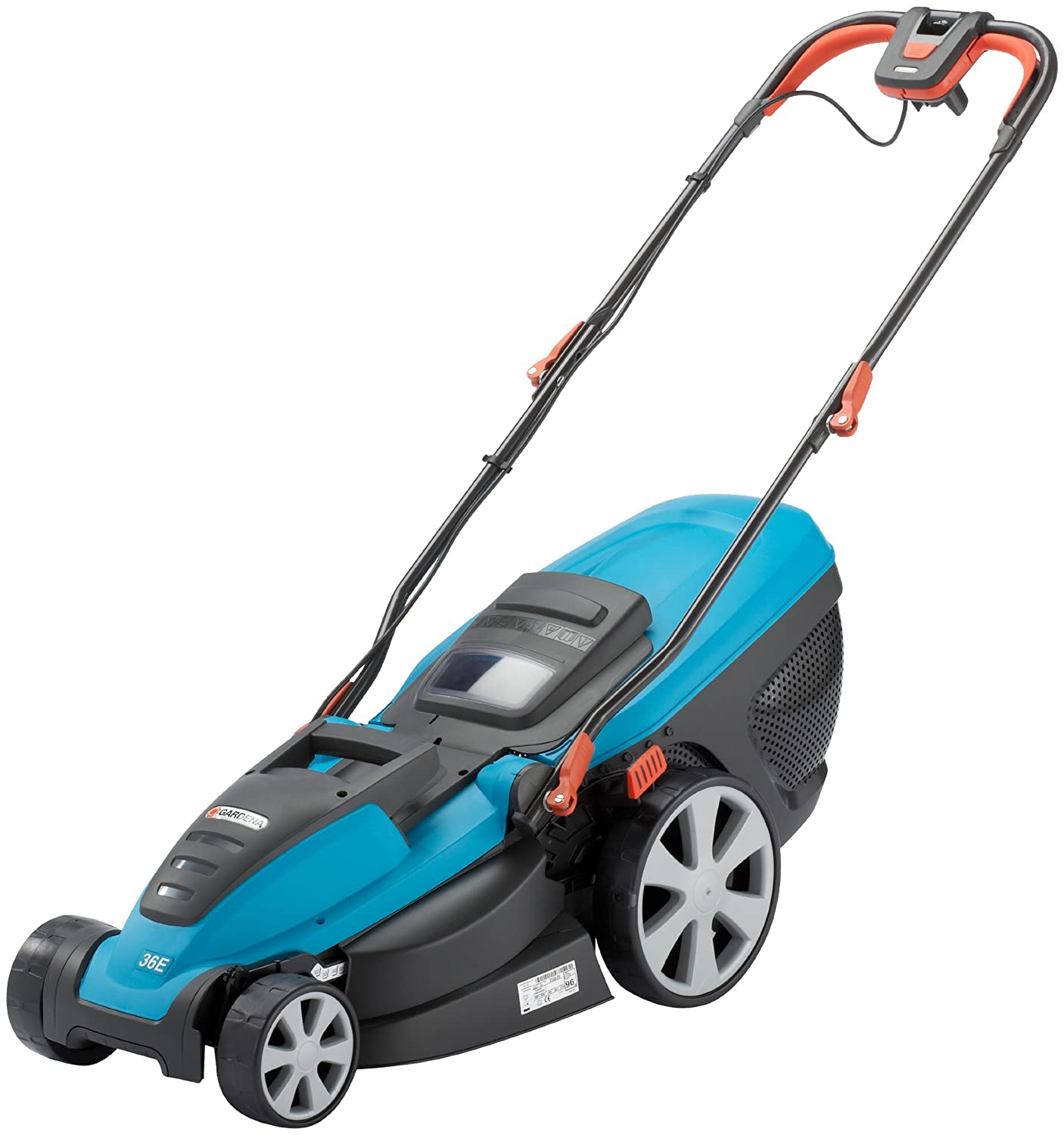 GARDENA 4037 Power Max 36E Electric Lawnmower, Turquoise/Orange/Black FL4037-28