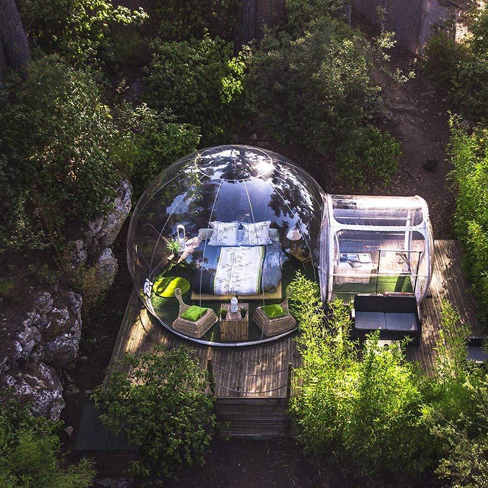 TTLIFE 膨張式屋外テント 単一のトンネル 自動防雨 インフレータブルバブルテント 家族キャンプ 温室 展望室 趣味の菜園 子供の遊び場 収納 庭小屋 裏庭のブロアーで透明なテント 携帯式 直径3M B07R5HGXNZ