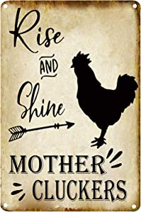 FSTIKO Rise and Shine Mother Cluckers Black Chicken Retro Vintage Metal Tin Signs Farm Decorative Country Home Decor Signs Gift 8X12Inch