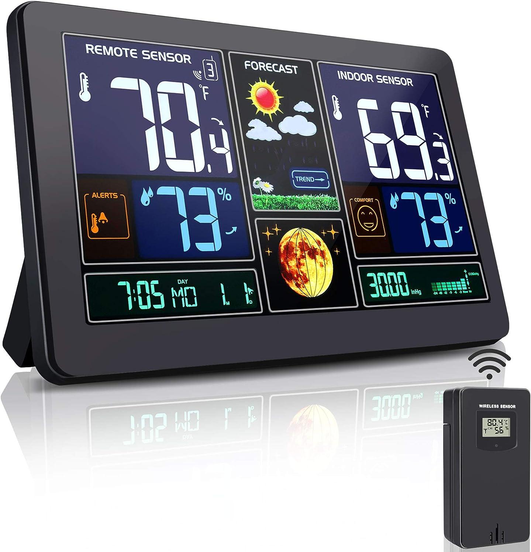 Digital Wireless Weather Forecast Station Wall Alarm Clock Temperature Humidity