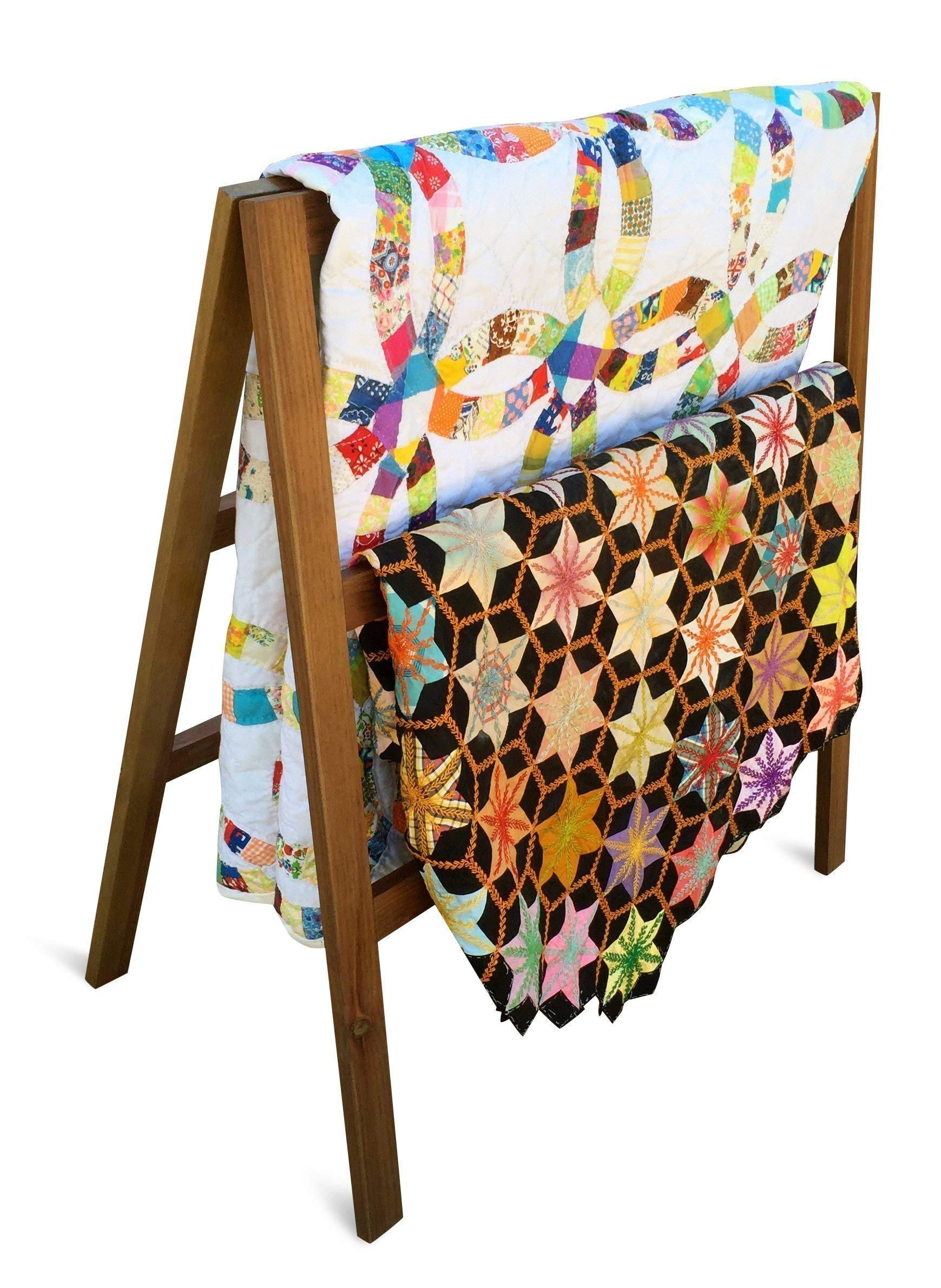 Premium Quilt Rack - 3-Tier Quilt Ladder Holds 5 Blankets or Afghans for Vender Displays - Great for Pillows, Shams and a Comforter- Folds Flat for Storage, Non-Toxic Finish. Handcrafted in the USA! by Ozarks Fehr Trade Originals, LLC